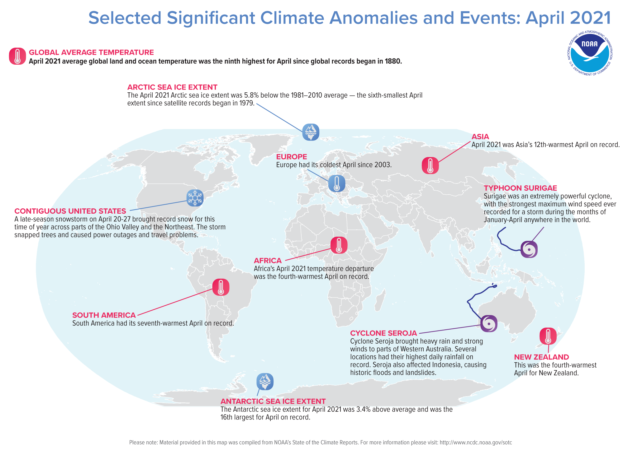 An annotated map of the world plotted with some of the most significant climate events that occurred during April 2021. Please see the story below as well as more details in the report summary from NOAA NCEI at http://bit.ly/Global202104.