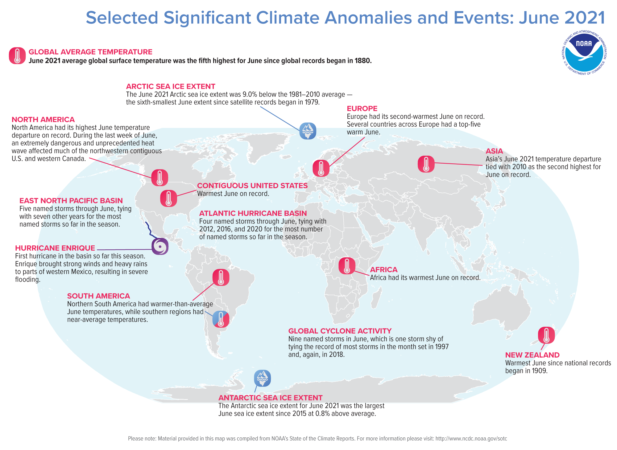 A map of the world plotted with some of the most significant climate events that occurred during May 2021. Please see the story below as well as more details in the report summary from NOAA NCEI at http://bit.ly/Global202106.