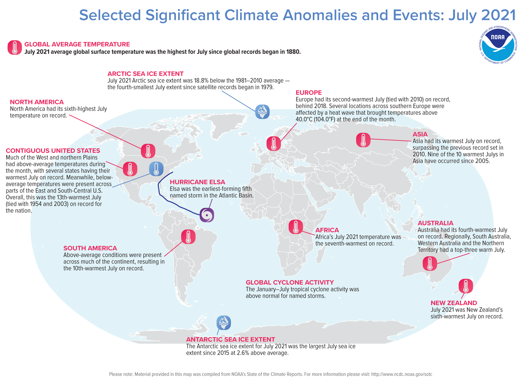 A map of the world plotted with some of the most significant climate events that occurred during July 2021.