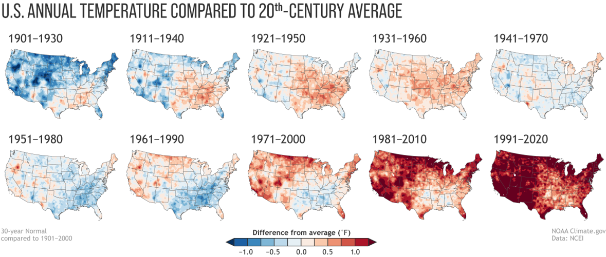 Annual U.S. temperature compared to the 20th-century average for each U.S. Climate Normals period from 1901-1930 (upper left) to 1991-2020 (lower right).