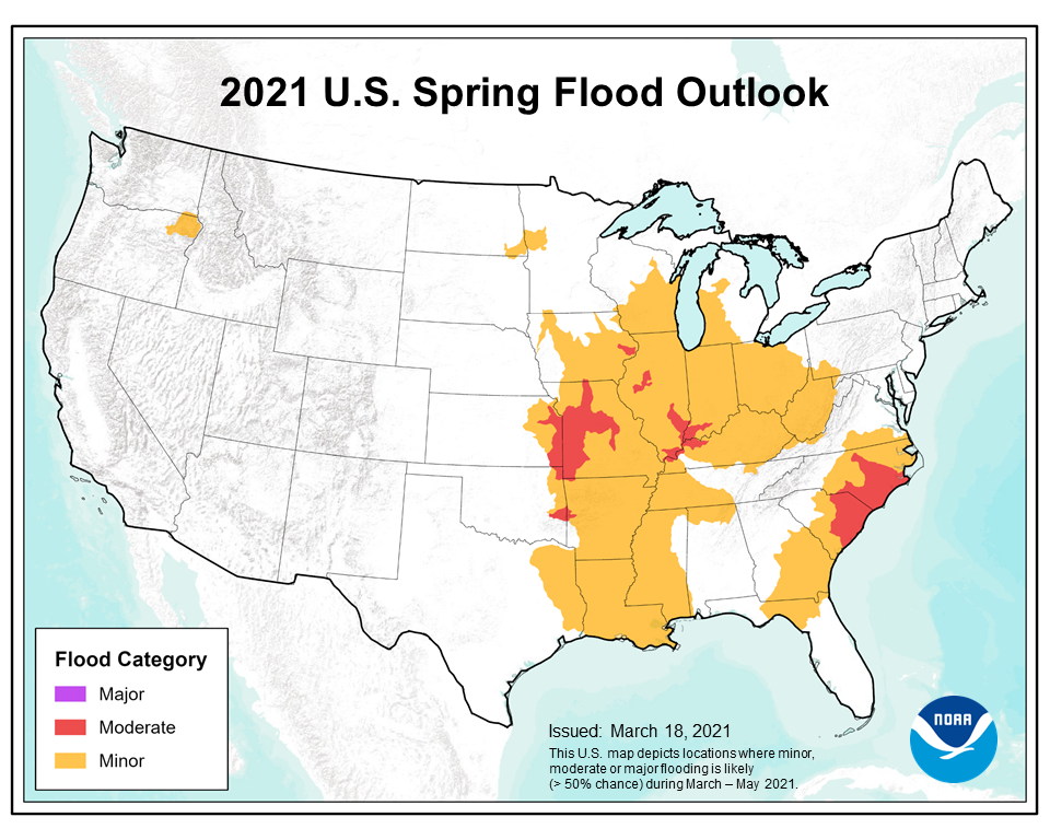 This map depicts the locations where there is a greater than 50 percent chance of moderate or minor flooding during March through May 2021.