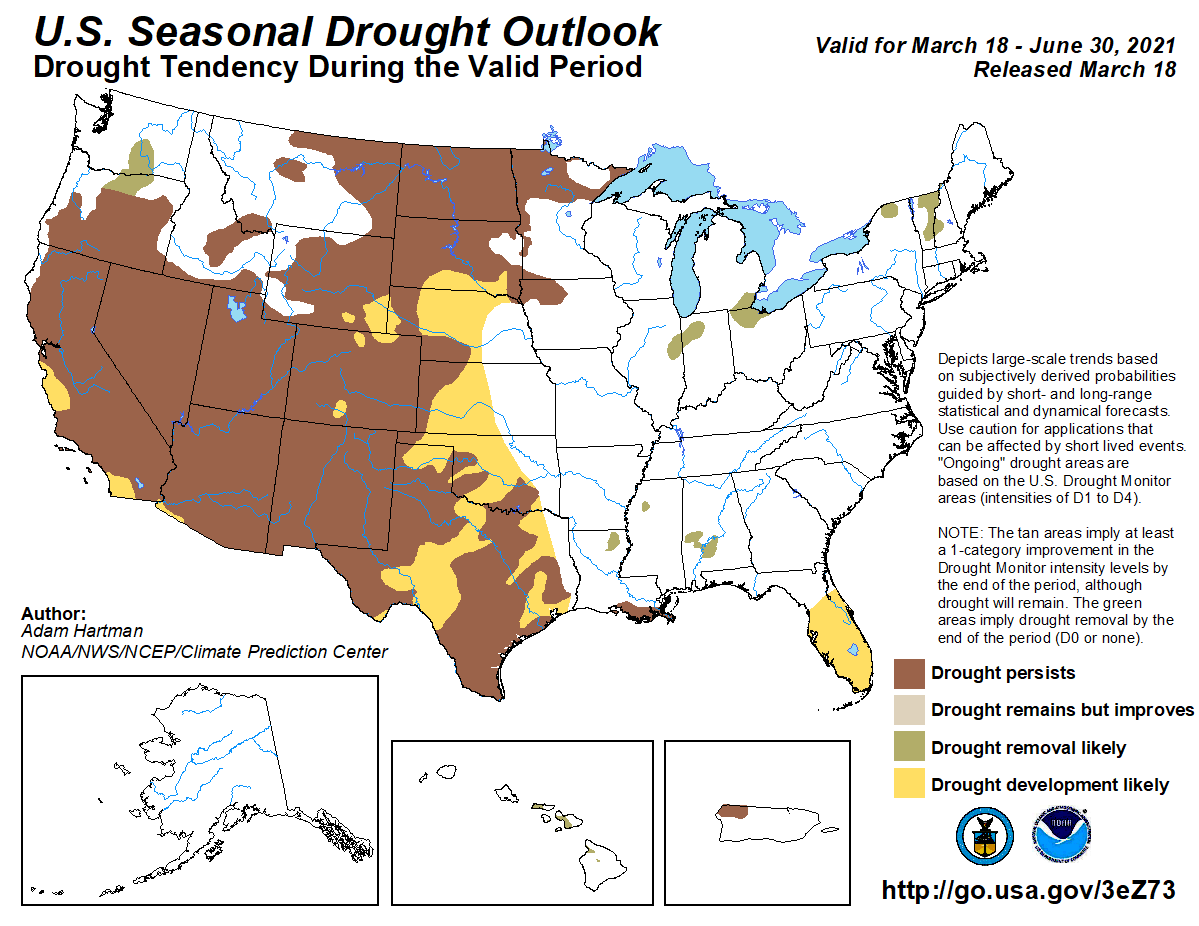 DRAFT CAPTION: This map depicts where there is a greater than 50 percent chance of drought persistence, development, or improvement based on short- and long-range statistical and dynamical forecasts during March 18 through June 30, 2021.