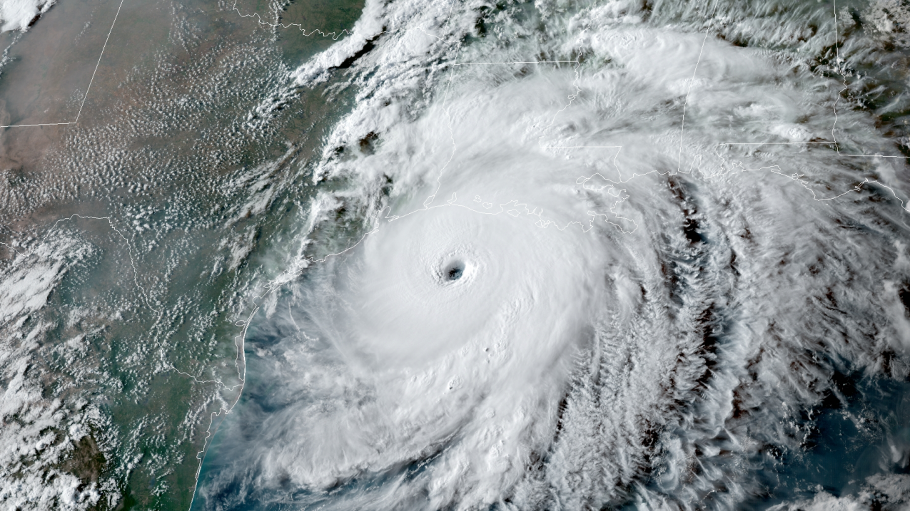 NOAA's GOES-East satellite captured this image of Hurricane Laura on August 26, 2020 as it approached the Gulf Coast.