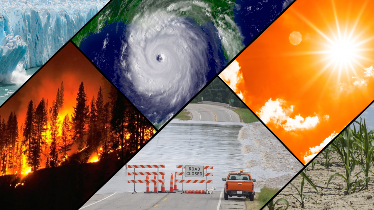 A collage of typical climate and weather-related events: floods, heatwaves, drought, hurricanes, wildfires and loss of glacial ice.