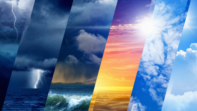 A collage of weather systems including thunderstorms, rain, heat waves, and fair weather.